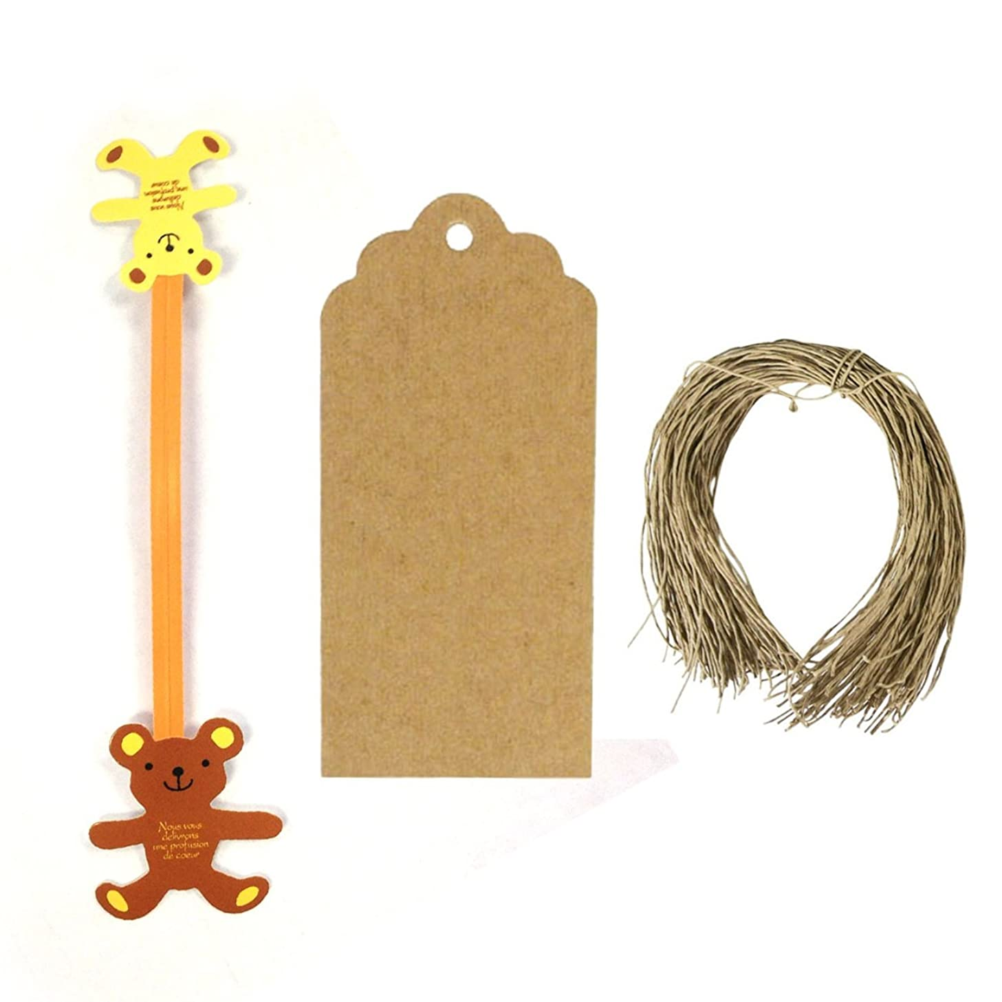 Wrapables Set of 50 Teddy Bear Twist Ties with 20 Scalloped Gift Tags for Sealing Party Favor Treat Bags and Cello Bags