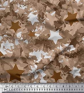 83b53e035ba7 Soimoi Marrón saten de seda Tela Star & camuflaje tela estampada impresa  por metro 42 Pulgadas