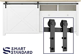 SMARTSTANDARD 8FT Mini Sliding Barn Door Hardware Track Kit -Super Smoothly and Quietly -Used for Cabinet, TV Stand, Closet, Window -Fit 48