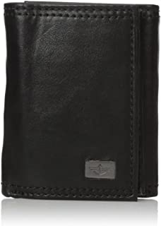 Men's RFID Security Blocking Extra Capacity Trifold Wallet,Black Plaque