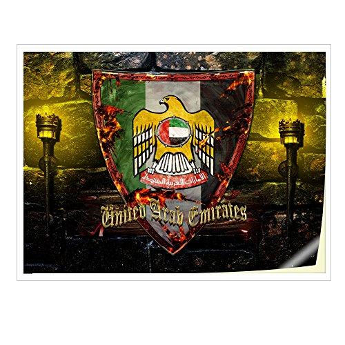 Wappen Vereinigte Arabische Emirate, Skin-Aufkleber Folie Sticker Laptop Vinyl Designfolie Decal mit Ledernachbildung Laminat und Farbig Design für Laptop 17