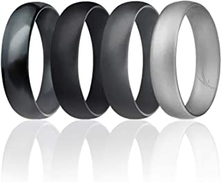 Silicone Wedding Ring for Men, Affordable 6mm Metallic Silicone Rubber Wedding Bands, Comfort Fit, Singles, 4 & 7 Packs - Black, Grey, Silver, Blue, White