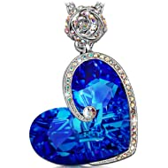 J.NINA Rose Heart Necklace with Bermuda Blue Crystals from Swarovski ♥Aphrodite♥ White-Gold...