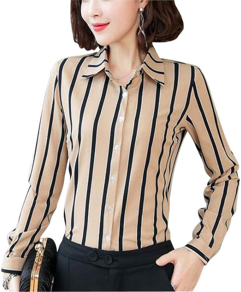 Double Plus Open DPO Women's Button Down Long Sleeve Printed Shirt Tailored Blouse