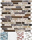 STICKGOO 10-Sheet Anti-Mold Peel and Stick Wall Tile, Self-Adhesive Kitchen Backsplash in Sandstone...