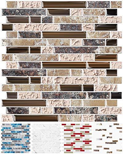 STICKGOO 10-Sheet Anti-Mold Peel and Stick Wall Tile, Self-Adhesive Kitchen Backsplash in Sandstone (Thicker Design)