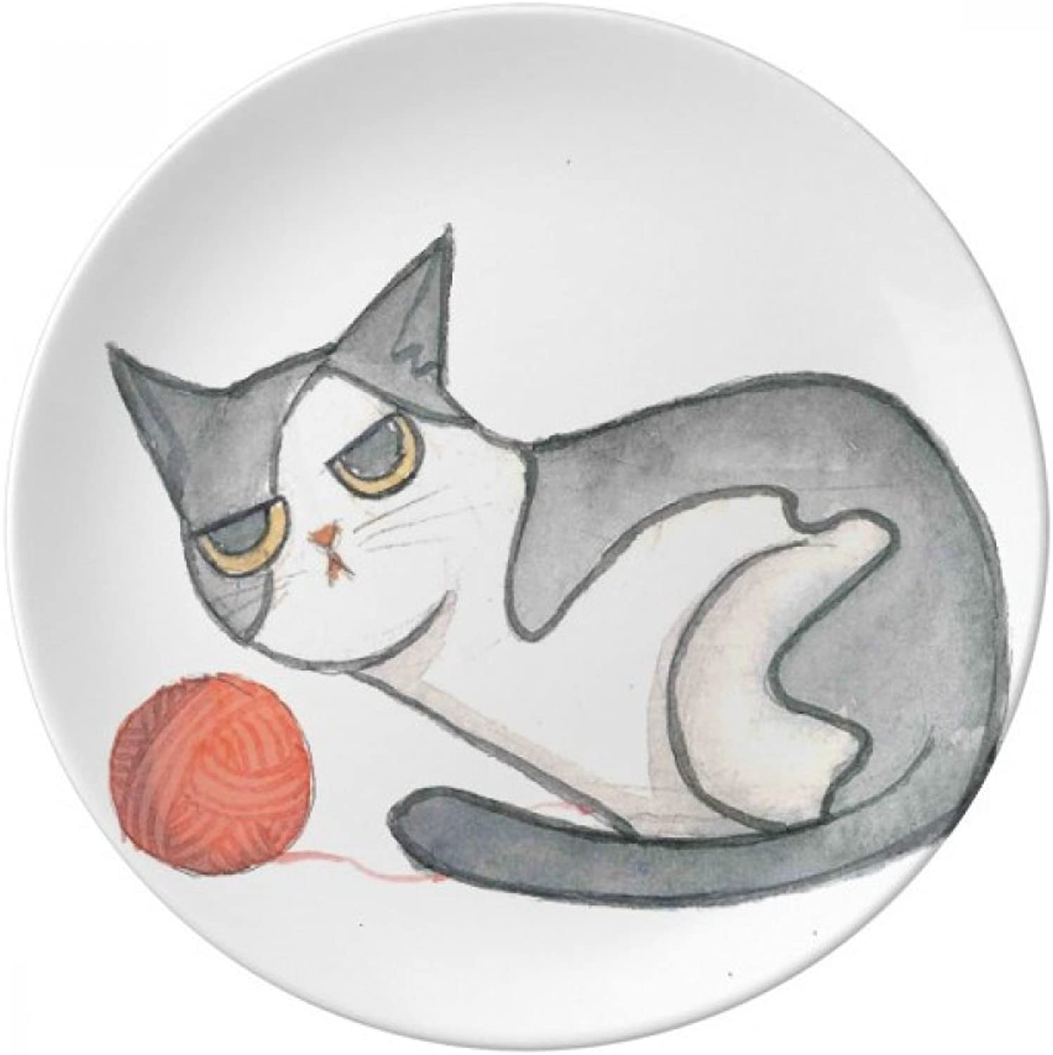 Miaoji Painting Watercolor Puppet Cat Decorative Porcelain Dessert Plate 10 inch Dinner Home Gift