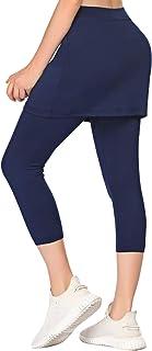 COOrun Women Capri Leggings with Skirt Lightweight Active Skirts with Pants Golf Tennis Workout Skirted Leggings