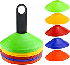 Faxco 50 Pcs Mark Disk, Soccer Cones with Holder for Training, Football, Sports, Field Cone Markers Outdoor Games Supplies...