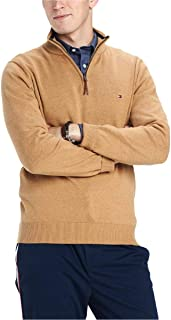 Mens Quarter Zip Ribbed Trim Sweater