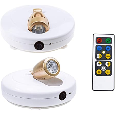 スポットライトライティング 間接照明 電池式 工事不要 LEDスポットライト リモコン付き 展示ライト ホワイト キッチンライト ワイヤレス 回転可能LED電球 天井 室内照明 HONWELL 2個セット (電球色)
