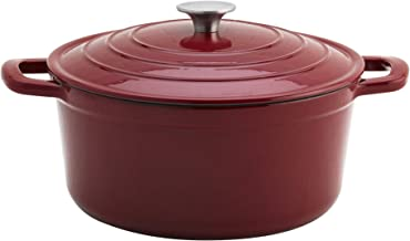 Epicurious Cookware Collection- Enameled Cast Iron Covered Dutch Oven, Red 1 Quart Dutch Oven