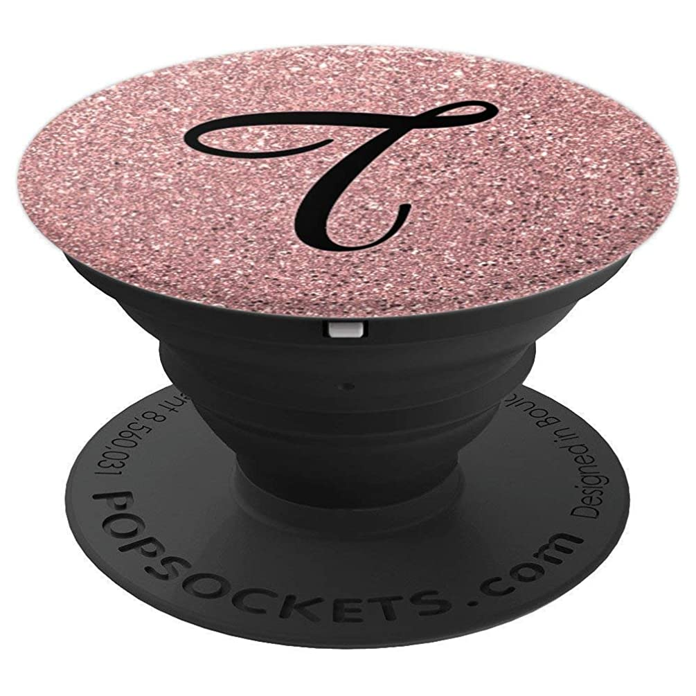Matte Rose Gold and Black Letter T Monogram - PopSockets Grip and Stand for Phones and Tablets