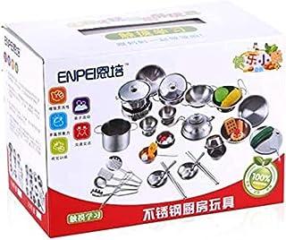 SKEIDO Kitchenware Cookware Cooking Toys 16 Pcs Stainless Steel Pretend Play Kitchen Toys Mini Model Children Kids Pot Pan...