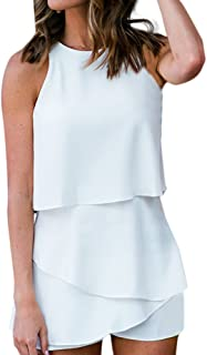 Kauneus Women Ol Solid Loose Palysuits Summer Chiffon Falbala Sleeveless Ladies High Street Overalls Jumpsuits