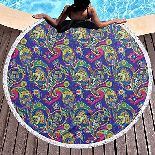 Tapiz redondo para playa, mantel hippy, toalla de playa, diseño clásico persa Boteh Ikat Motifs Old Welsh Pears Artwork, esterilla de yoga redonda para la playa