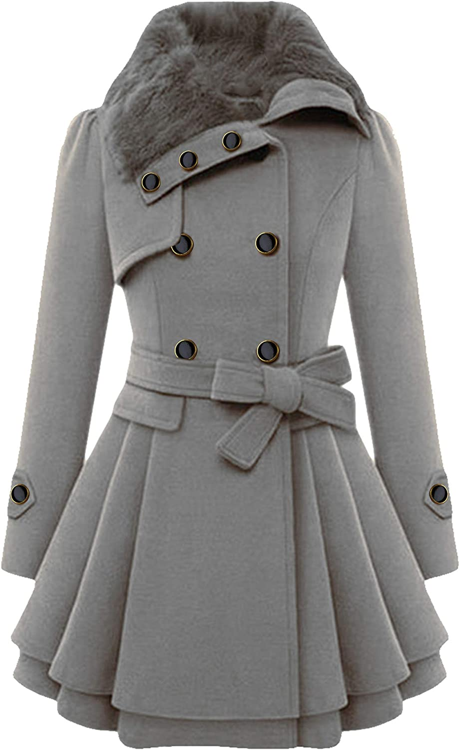 FLITAY Womens Trench Plus Size Casual Pea coat with Belt Hooded Checkered Double Breasted Coat