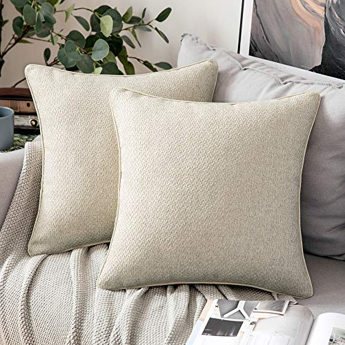 MIULEE Pack of Two Cushion Cover Christmas Throw Pillow Case Decorative Super Soft Piping Yarn-dyed Fabric Home for Christmas Living Room Bedroom Sofa 45 x 45 cm 18 Inch Oatmeal