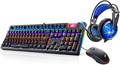 ABKONCORE Gaming Mechanical Keyboard K660 & 7.1 Surround Sound Gaming Headset B581 & Wired Ergonomic USB Computer Mice A660