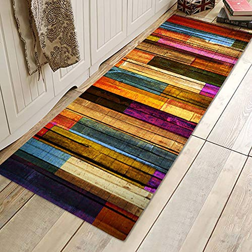 Mrinb Carpet Runner Rug,Area Rug Non-Slip Door Mat Colorful Wood Patterned Carpet Floor Mat,Washable Hall/Kitchen/Bedroom/Living Room Runner Rug Mat