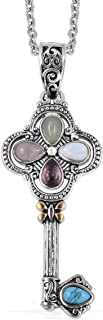 Good Lucky Key Chain Pendant Necklace for Women Amethyst Rose Quartz Aventurine ION Plated Yellow Gold Stainless Steel 20