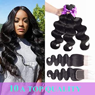 MQYQ Upgraded 10A Brazilian Body Wave 3 Bundles With Closures (16 18 20+14Inch Closure)100% Unprocessed Human Hair Bundles With Lace Closure Natural Black Color