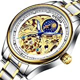 JTTM Relojes Hombre Mecánico Automático De Lujo De Estilo Clásico Impermeable Números Esfera con Correa De Acero Inoxidable,Gold White