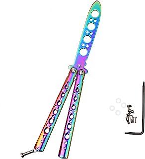 سكين تدريب بتصميم الفراشة من اكوينلي، بالوان قوس قزح، امنة وغير مؤذية مناسبة للمبتدئين مصنوعة من الستانلس ستيل