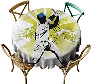 UETECH Outdoors Round Tablecloth Baseball,Pitcher Hits The Ball Printed Tablecloth Diameter 54