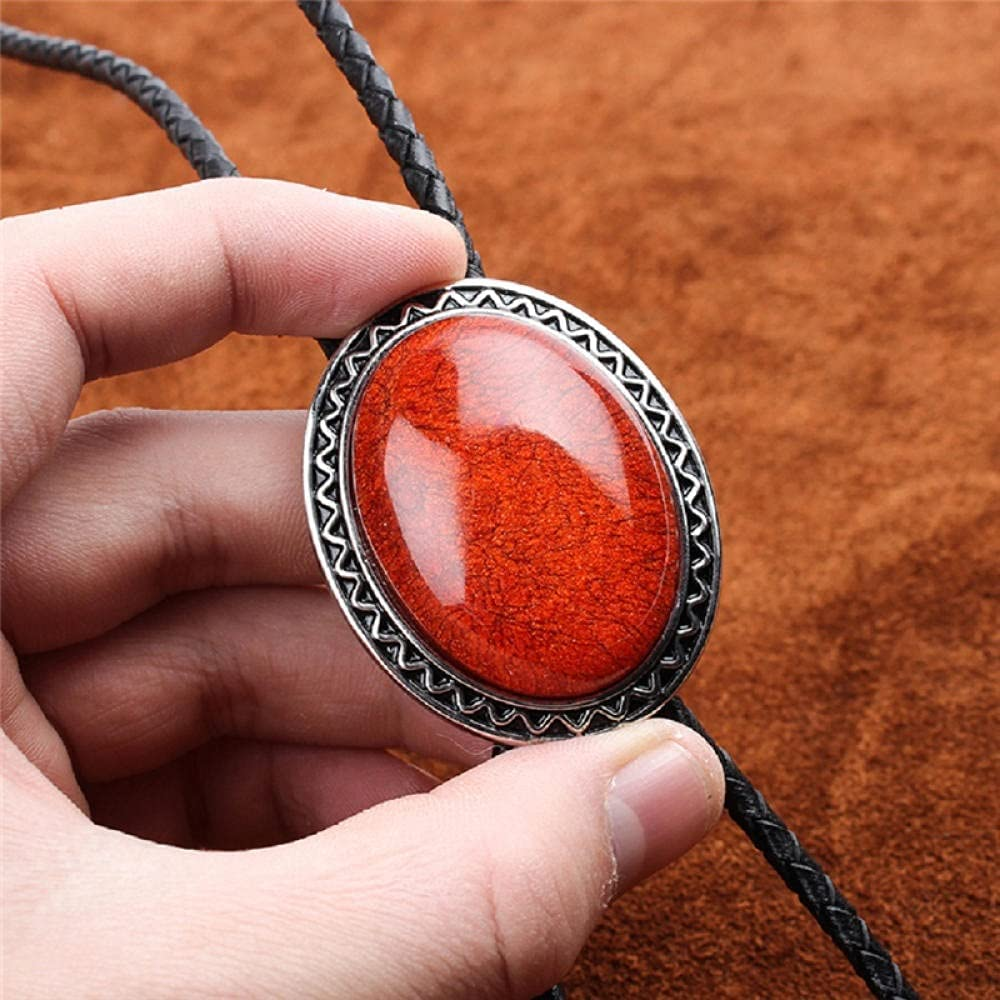 YPYSD Bolo Ties Original Western Cowboy BOLO Tie Clip Inlay Coral Gem Leather Rope Mens Fashion Jewelry Ties (Color : Red)