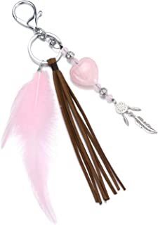 Sponsored Ad - PESOENTH Rose Healing Crystal Stone Keychains Pink Dream Catcher Feather Tassel Keyrings Bag Charms for Wom...