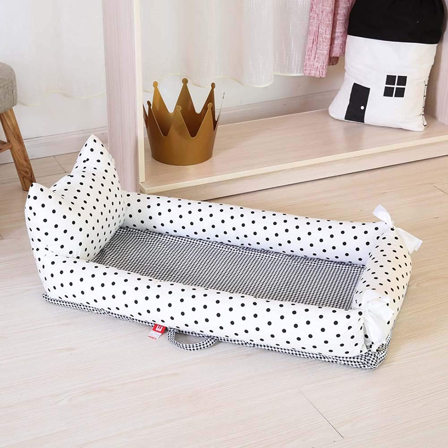 Newborn Portable Multi-Function Uterine Bed in Bed Fully Detachable Back-Bed Cot for 0-2 Years Old,A,Smallbed+Pillow