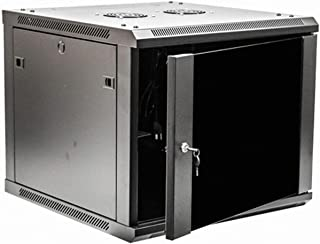 NavePoint 9U Deluxe IT Wallmount Cabinet Enclosure 19-Inch Server Network Rack with Locking Glass Door 24-Inches Deep Black