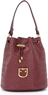 Furla Woman's Furla Corona S Bucket Bag In Textured Burgundy Leather Red