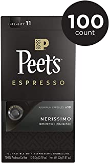 Peet's Coffee Espresso Capsules Nerissimo, Intensity 11, 100 Count Single Cup Coffee Pods, Compatible with Nespresso Original Brewers