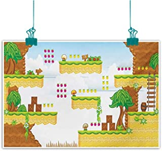 Mdxizc Wall Art Decor Poster Painting Video Games Cartoon Retro Computer Graphic Kids Western Design Box Cloud Fun Adventure 90s Natural Art W28 xL20 Multicolor