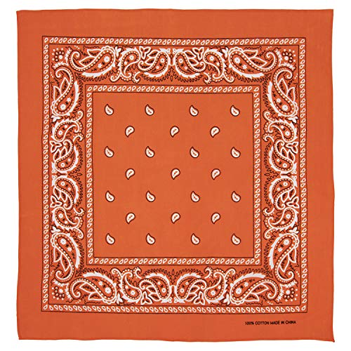 Large 100% Cotton Paisley Bandanas (22 inch x 22 inch) - Orange Single Piece 22x22 - Use For Handkerchief, Headband, Cowboy Party, Wristband, Head Scarf - Double Sided Print