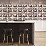 YQYMSPX Pegatinas para azulejos de cocina, baño, 15 x 15 cm, diseño de flores rojas, impermeables, autoadhesivas, para cocina, baño, sala de estar, TV, decoración de fondo, 1 juego de 20 unidades