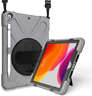 ProCase iPad 10.2 Case 2019 7th Gen iPad Case, Rugged Heavy Duty Shockproof 360 Degree Rotatable Kickstand Protective Cover Case for iPad 7th Generation 10.2 Inch 2019 (A2197 A2198 A2200) -Grey