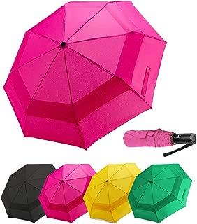 LANBRELLA Compact Travel Umbrella Vented Double Canopy Windproof Auto Open Close