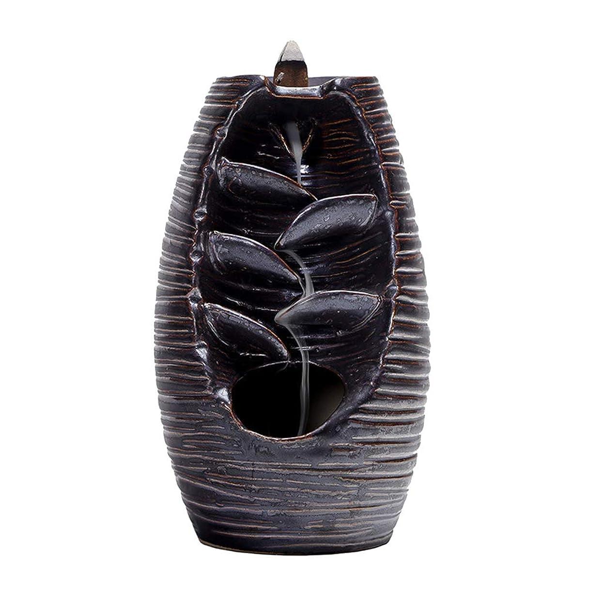寄付あいまいさ地理Vosarea 逆流香バーナー滝香ホルダーアロマ飾り仏教用品(黒)