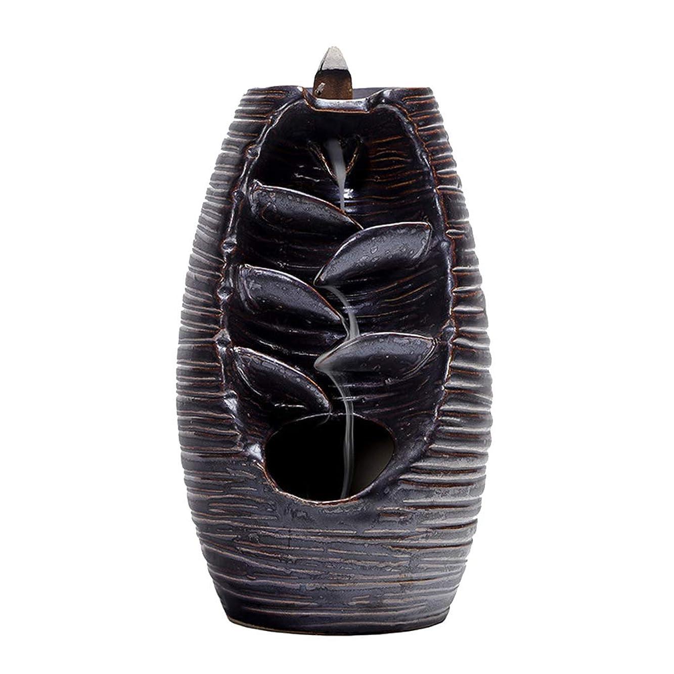 まつげバトル編集するVosarea 逆流香バーナー滝香ホルダーアロマ飾り仏教用品(黒)