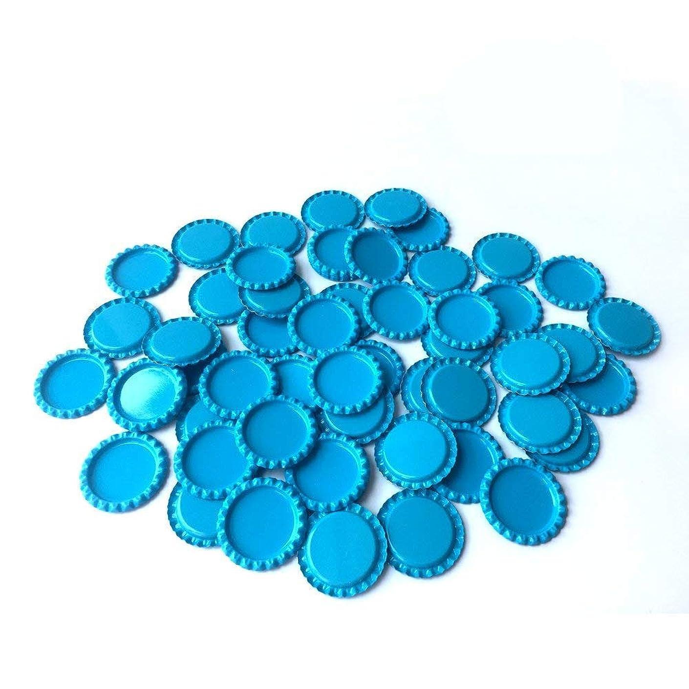 HAWORTHS 100 PCS Flat Decorative Bottle CaP Craft Bottle Stickers Double Sideds Printed for Hair Bows, DIY Pendants or Craft ScraPbooks Light blue