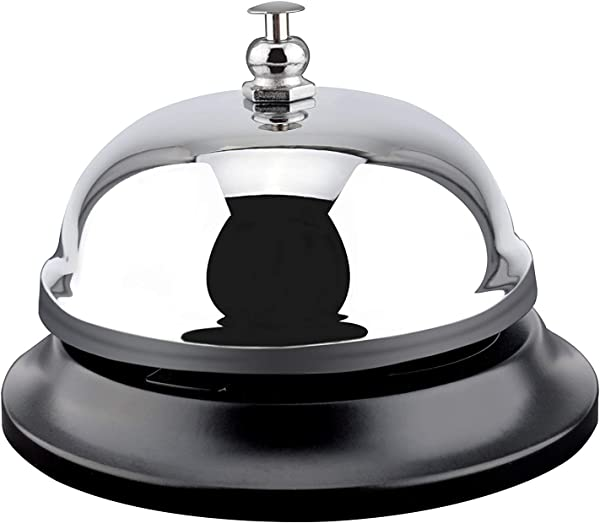 MROCO Big Call Bells 3 38 Inch Diameter Chrome Finish All Metal Construction Desk Bell Service Bell For Hotels Schools Restaurants Reception Areas Hospitals Warehouses Silver