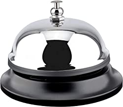 MROCO Big Call Bells, 3.38 Inch Diameter, Chrome Finish, All-Metal Construction, Desk Bell Service Bell for Hotels, Schools, Restaurants, Reception Areas, Hospitals, Warehouses(Silver)
