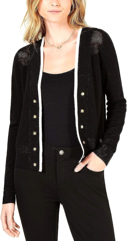 Maison Jules Womens Open Front Long Sleeve Cardigan Sweater Black M