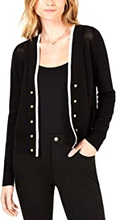 Maison Jules | Open-Knit Button-Detail Cardigan | Deep Black