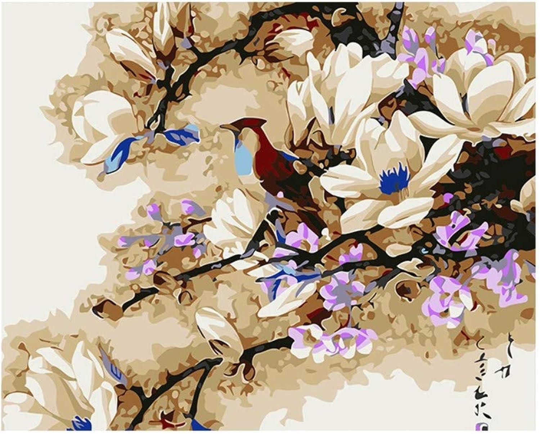 Yyboo DIY Malen Nach Zahlen Digitale Leinwand Ölgemälde Geschenk Erwachsene Kinder Kits Home Decorators - Magnolie Und Vögel (Holzrahmen) B07PHT5T1X | Schön