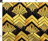 1920, Art Deco, Gold, Gelb, Schwarz, Chevron, Geometrisch