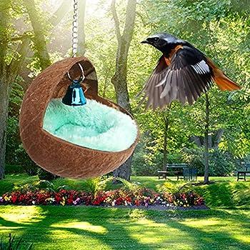 Prom-note Nid d'oiseau en coquille de noix de coco naturelle pour animal domestique, perroquet, perruche, calopsitte, conure, canari, pinson, colombe, hamster, rat, gerbille, souris